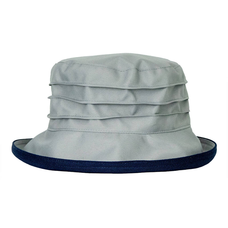 peak and brim lucy  grey with navy underbrim womans rain hat