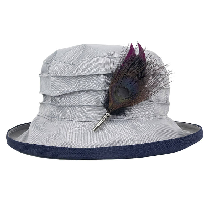 grey-and-navy-rain-hat-with-peacock-feather-hat-pin