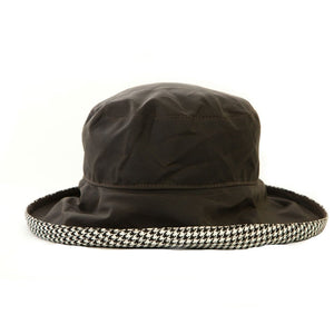 Bradleys The Tannery Kate Brown Wax Hat With Houndstooth Lining