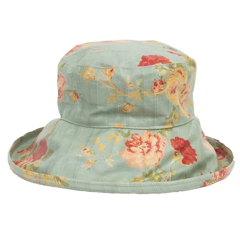 Bradleys The Tannery Rose - Pale Green With Rose Pattern Rain Hat On Woman