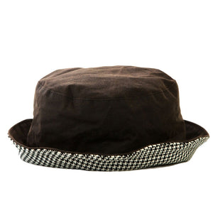 Bradleys Tannery Sophie Brown Bucket Style Wax Hat With Houndstooth Lining