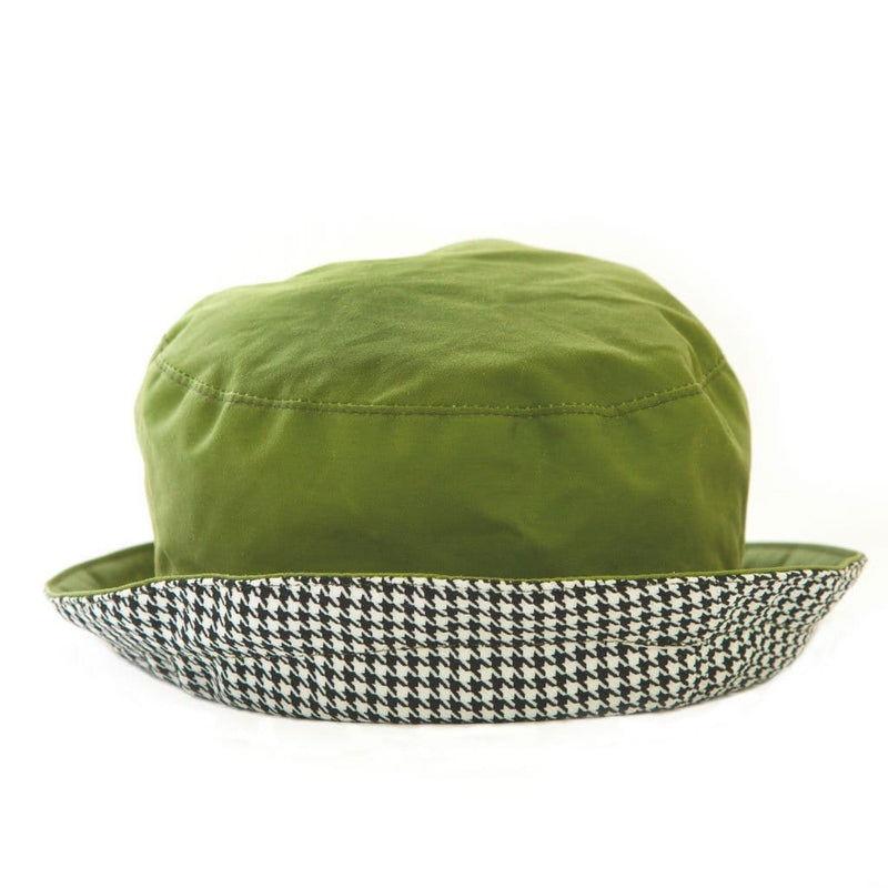 Bradleys Tannery Sophie Green Wax Bucket Style Rain Hat With Houndstooth Lining