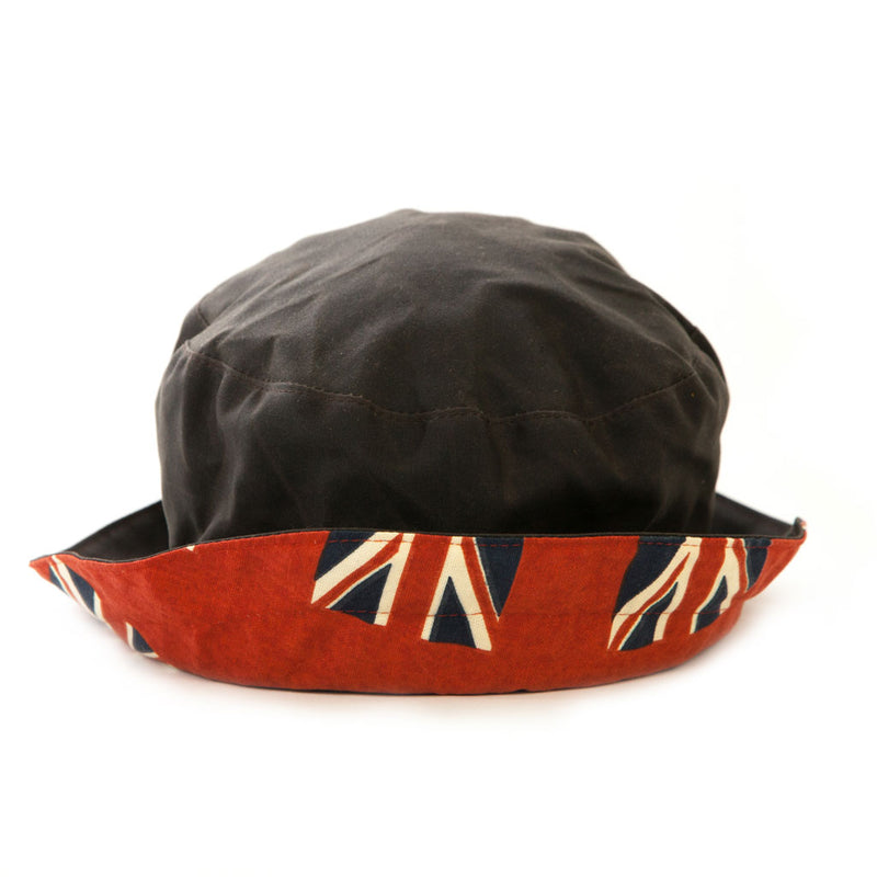 ladies brown waxed rain hat with red union jack design underbrim