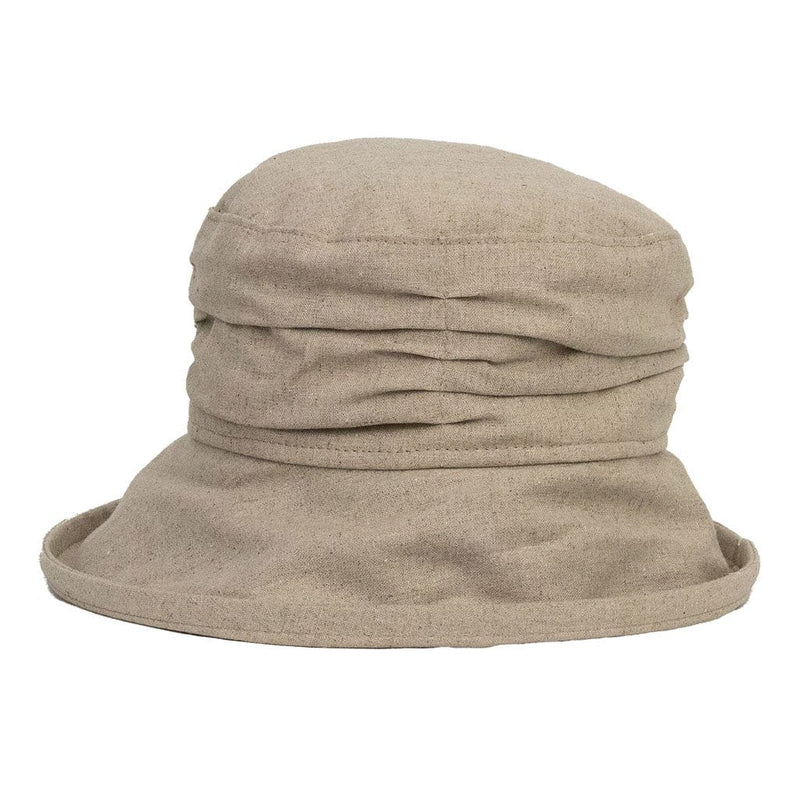 jojo hats cream linen sun hat with ruched crown and wide brim