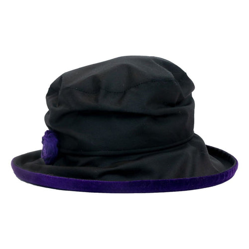 JoJo Hats Elizabeth Black Ladies Waxed Rain Hat With Purple Velvet Trim And Rose Decoration