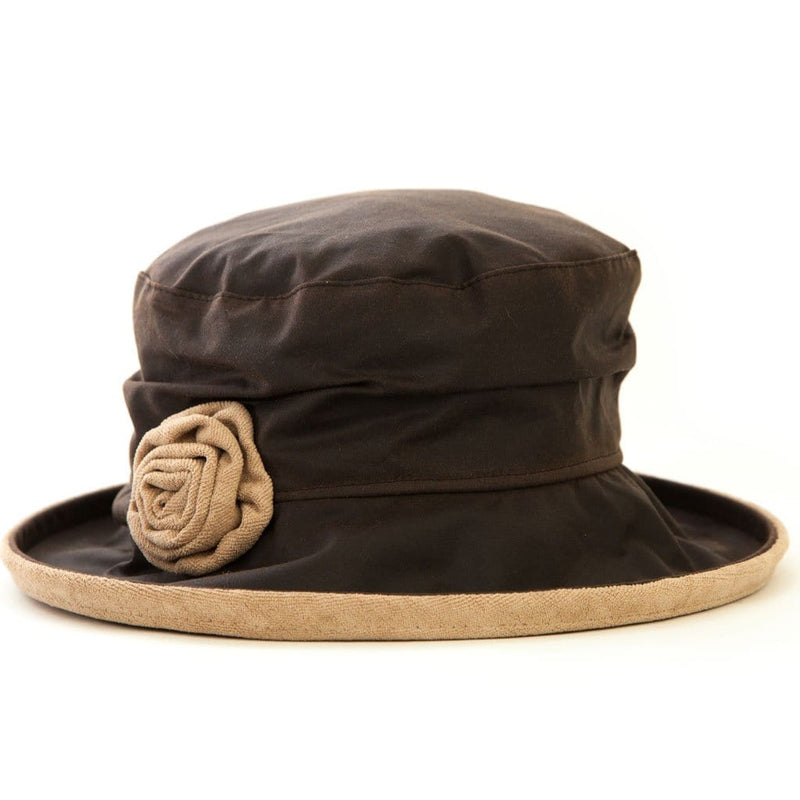 JoJo Hats Elizabeth Brown Ladies Waxed Rain Hat With Oatmeal Velvet Trim And Rose Decoration