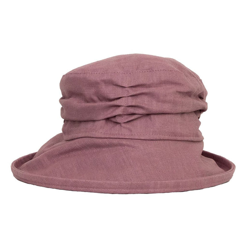 jojo hats lilac linen sun hat with ruched crown and wide brim