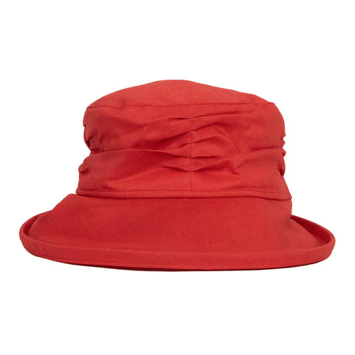 red-linen-sun-hat-with-ruched-crown-and-wide-brim