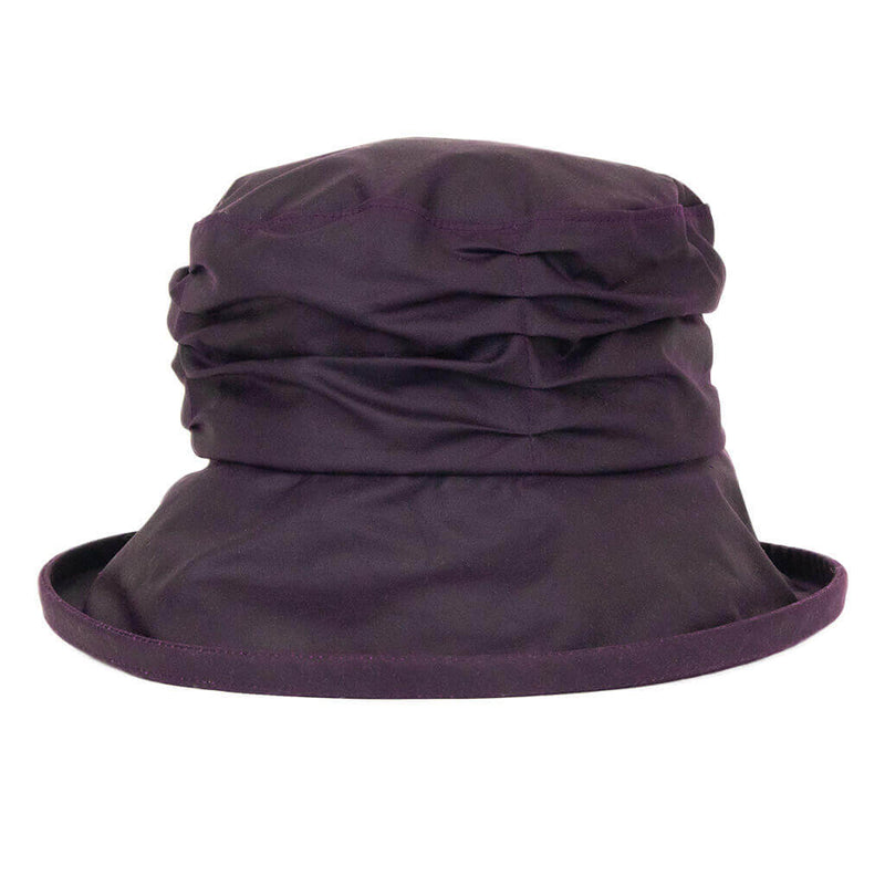 ladies blackcurrant waxed rain hat