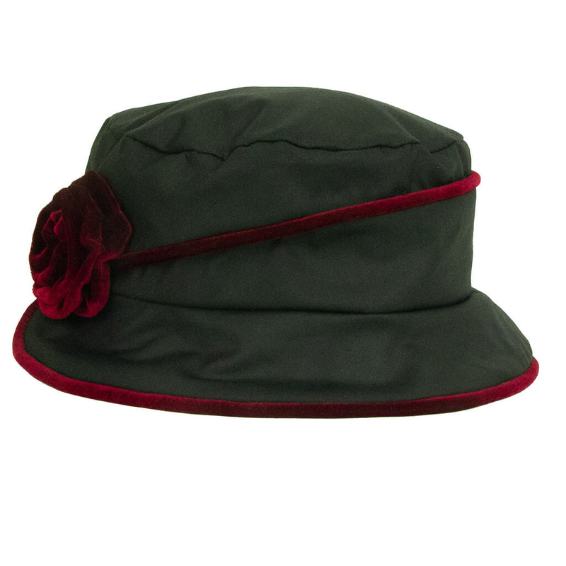 jojo-hats-phoebe-ladies-black-rain-hat-with-burgundy-trim-and-flower-side-view