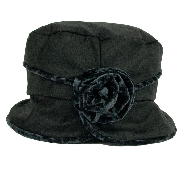 jojo-hats-phoebe-ladies-rain-hat-black-with-grey-trim-and-flower-back-view