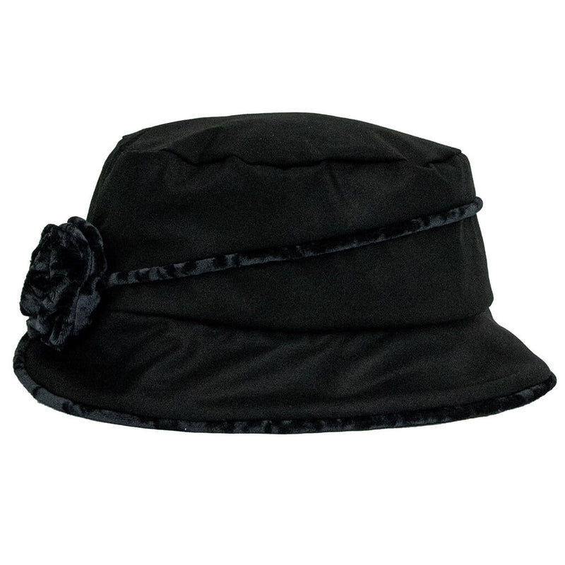 jojo-hats-phoebe-ladies-rain-black-with-grey-trim-and-flower-side-view