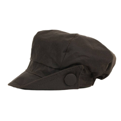 waxed-brown-baker-boy-cap-with-side-of-peak-turned-up-with-button