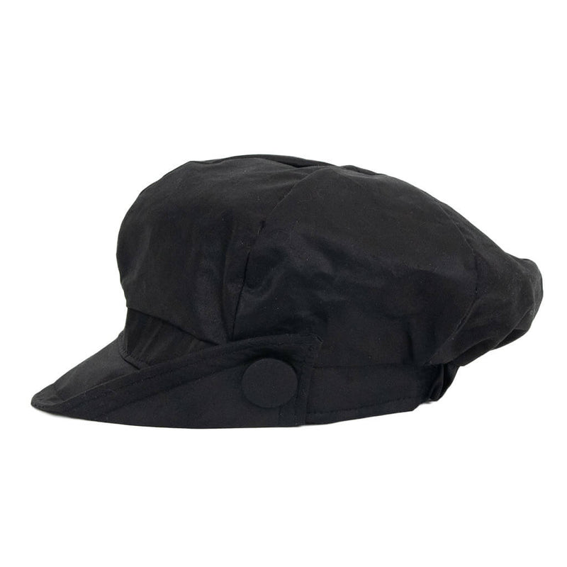 black-waxed-baker-boy-cap-with-side-of-peak-turned-up-with-button