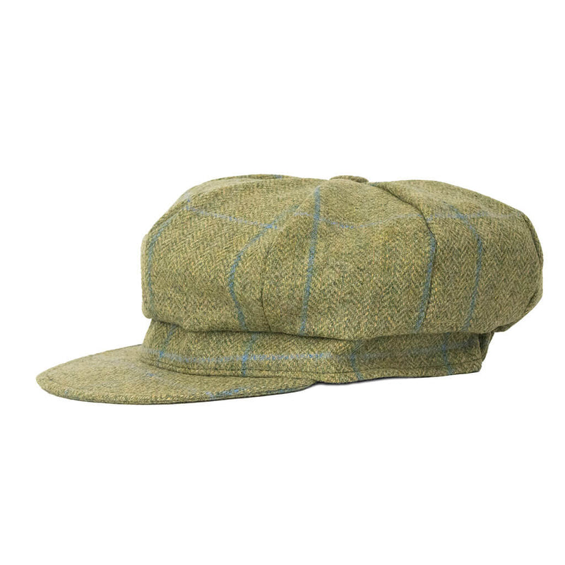 green-tweed-baker-boy-cap-side-view