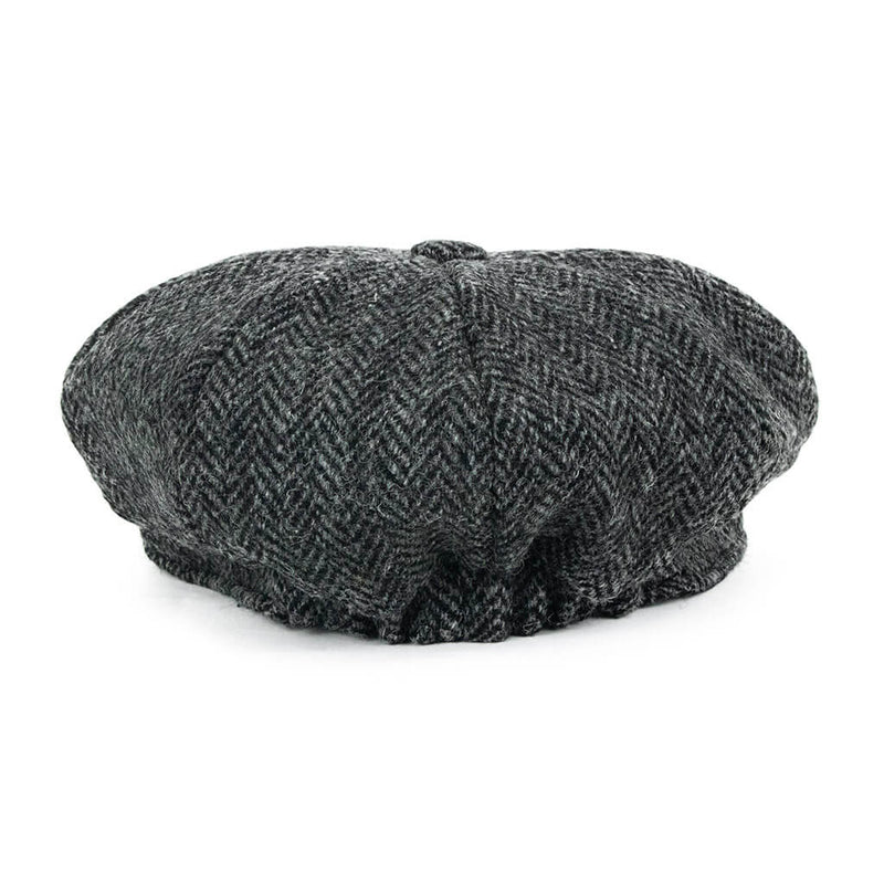 dark-grey-harris-tweed-baker-boy-cap-back-view