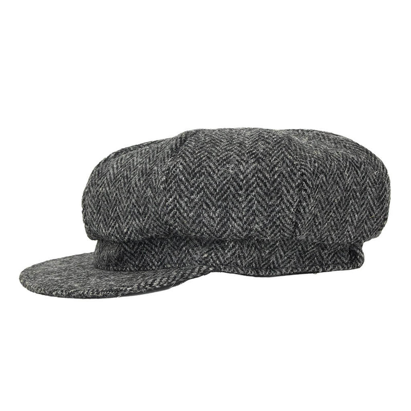 dark-grey-harris-tweed-waterproof-baker-boy-cap-side-view
