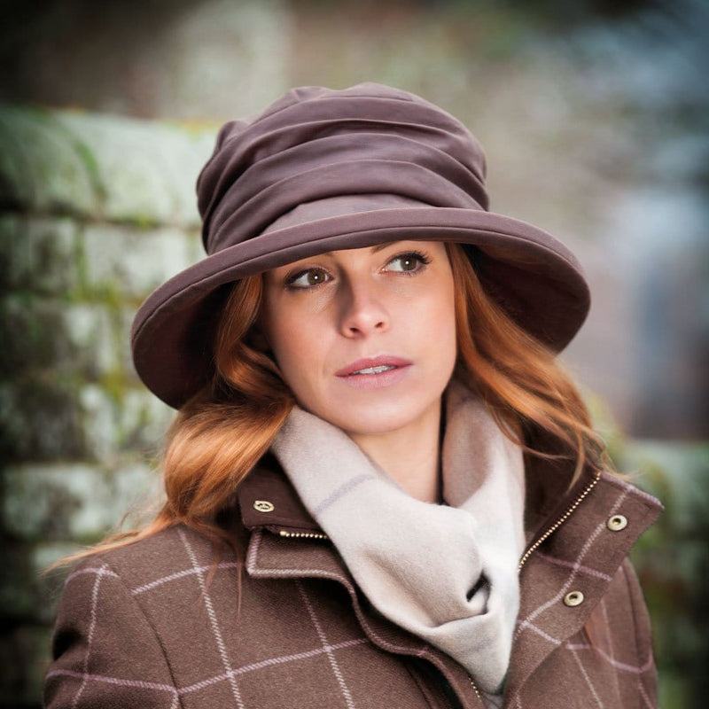 Olney Headwear Annabel Ladies Brown Waxed Rain Hat on Woman