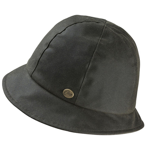 Olney Headwear Ava Ladies Olive Waxed Cloche Style Rain Hat