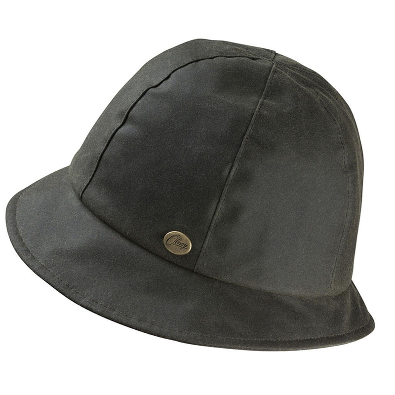 ladies waxed olive cloche rain hat