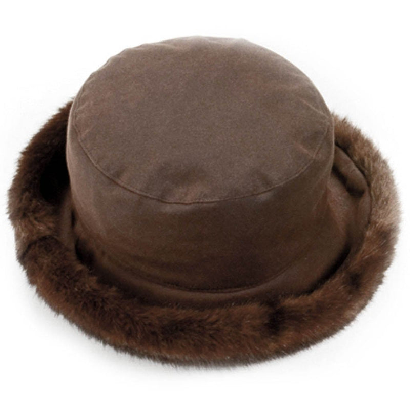 olney headwear brown waxed faux fur trimmed rain hat