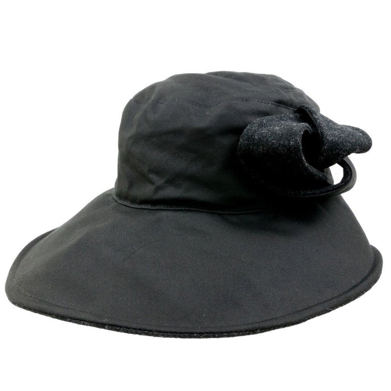 Olney Headwear Darcy Ladies Black Waxed Cotton Rain Hat With Bow Decoration