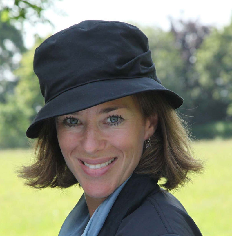 Olney Headwear Dixie Black Ladies Waxed Rain Hat With Sculptured Back On Woman