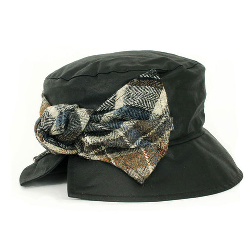 black waxed cloche hat with tweed bow