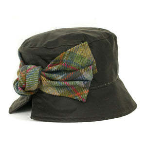 Olney Headwear Kate olive green ladies waxed hat with tweed bow