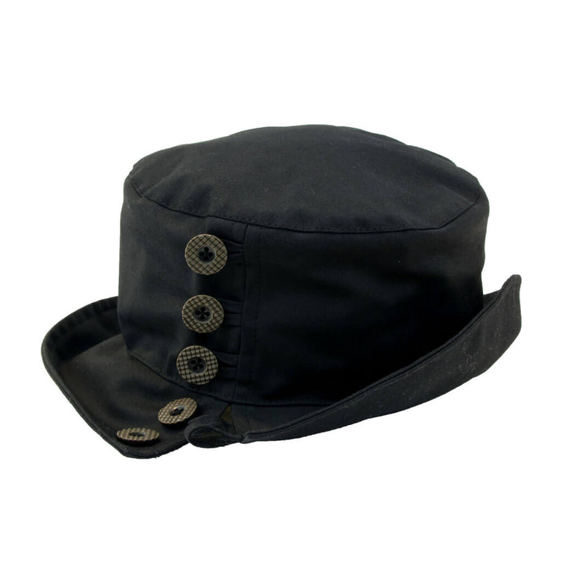 ladies black waxed bucket style hat with buttons to one side of hat