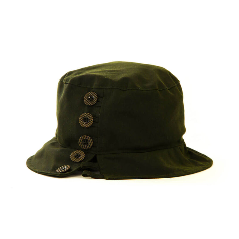 ladies olive waxed bucket style hat with buttons to one side of hat