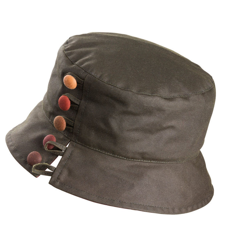 ladies olive waxed hat with colourful buttons to one side and split brim