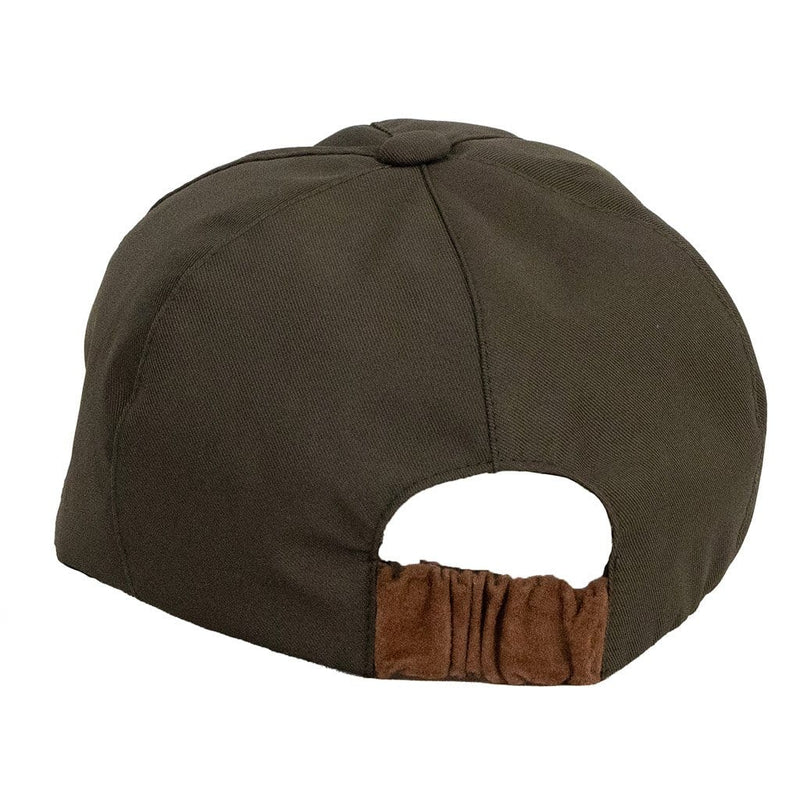 olney-headwear-olive-sports-cap-back-view-showing-tan-suede-elasticated-back-band