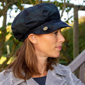 Olney Headwear Maggie Ladies Blackwatch Tartan Waxed Baker Boy Rain Hat on Woman