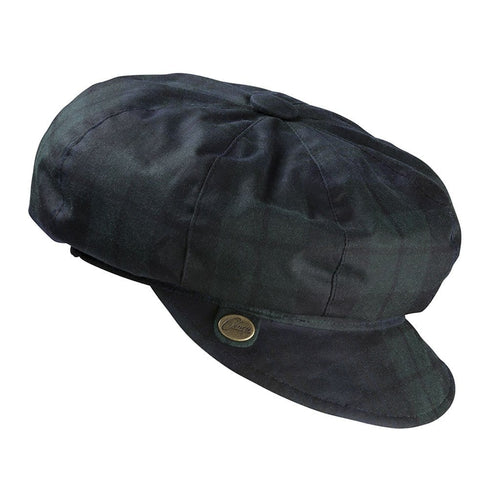 Olney Headwear Maggie Ladies Blackwatch Tartan Waxed Baker Boy Rain Hat
