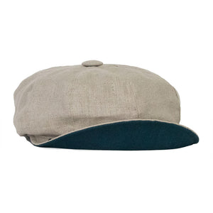 olney maggie linen natural coloured baker boy cap with teal under brim