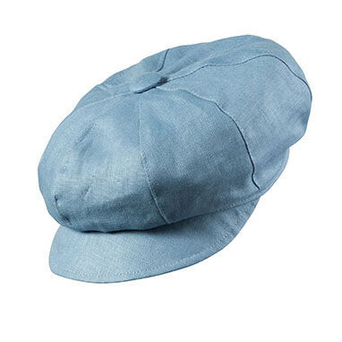 olney maggie linen skyblue baker boy cap with mocha under brim
