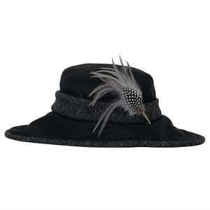 olney naomi wax black hat with tweed trim and guinea fowl and hackle feather hat pin