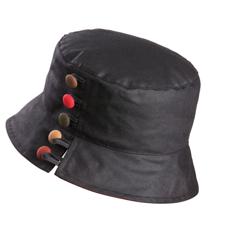 ladies black waxed bucket hat with brown  red and green buttons to one side with a split brim