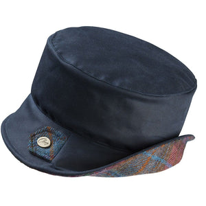 Olney Headwear Pippa Navy Ladies Bucket Style Wax Rain Hat With Heather Tweed Under Brim Of Hat