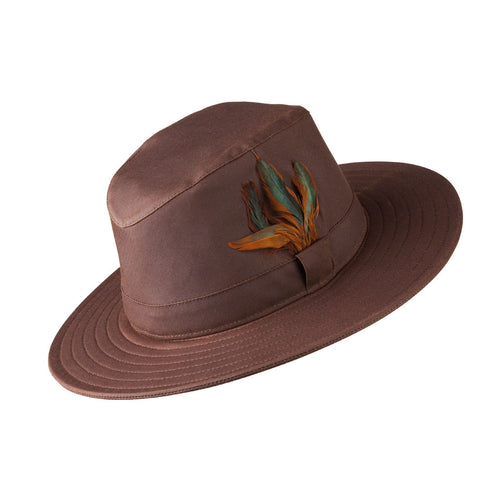 ladies fedora style wax explorer hat in brown with feathers to one side