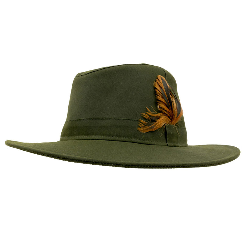 Olney Headwear Wax Explorer Ladies Olive Rain Hat With Feathers