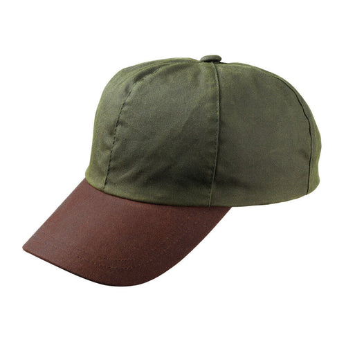 olive green wax sports cap with brown peak
