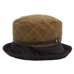 Peak And Brim April Ladies Tan Waxed Rain Hat With Brown Brim