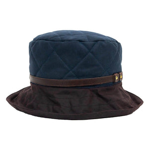 Peak And Brim April Ladies Waxed Navy Hat With Brown Brim