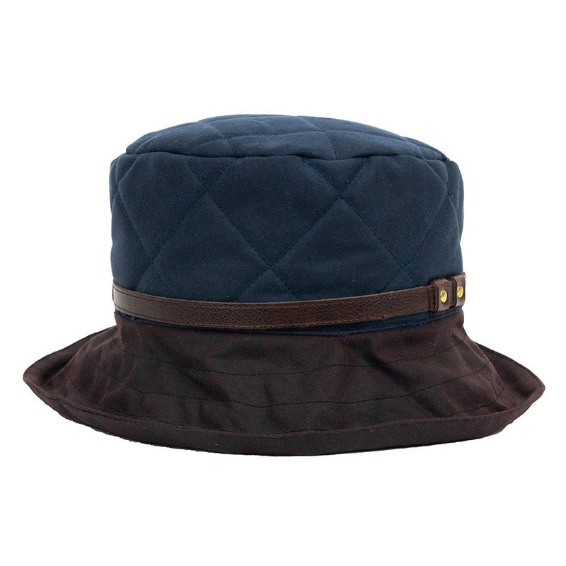 Peak And Brim April Ladies Waxed Navy Hat With Brown Brim And Leather Band