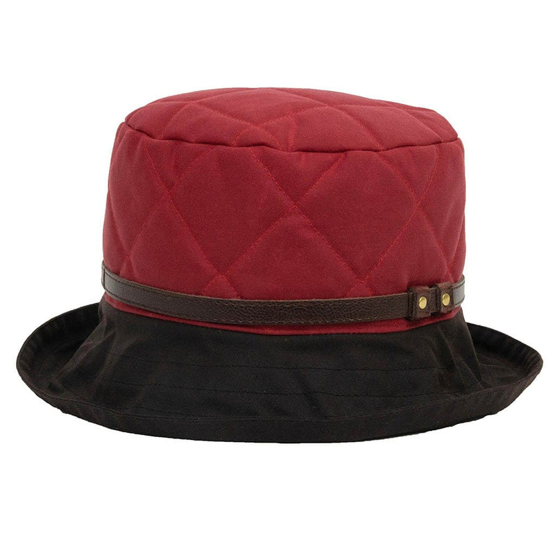 Peak And Brim April Ladies Red Waxed Rain Hat With Brown Brim And Leather Band