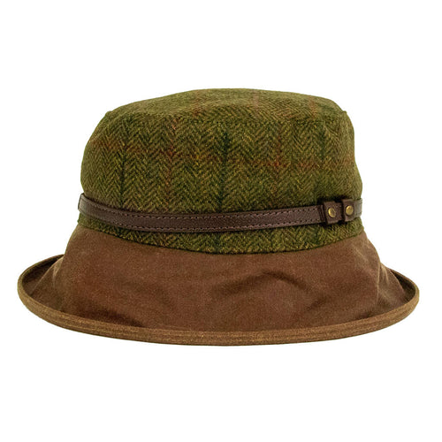 peak and brim betty tweed hat with tan wide brim