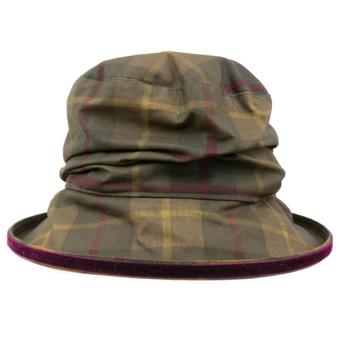 womens waxed tartan rain hat with burgundy trim on edge of brim