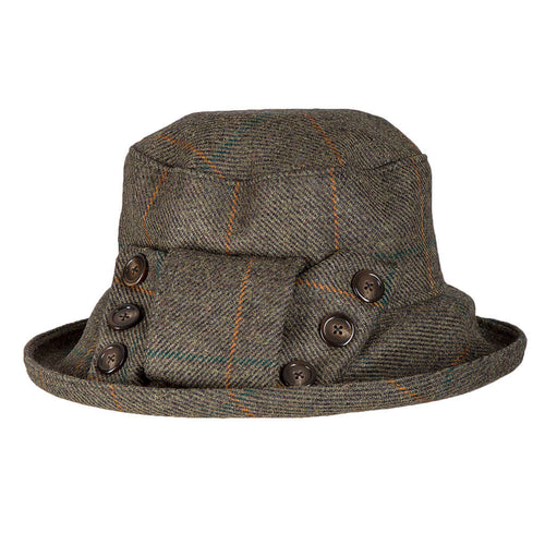 womans tweed waterproof rain hat with matching tweed bow and buttons to one side